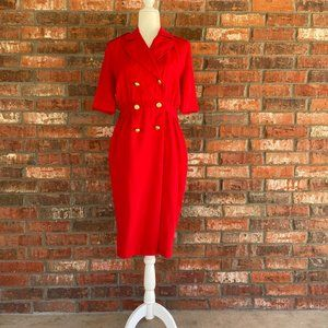 vintage 1980s red power dress shirtdress size 6